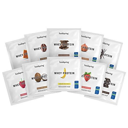 foodspring Muestras de Proteína Whey, Sabores distintos, 10 x 30g, 100% proteína de suero de leche, Proteína en polvo para el desarrollo muscular