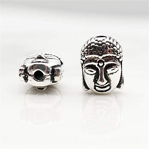 WCOCOW Accesorios DE Plata DE S925 Cuentas De Cabeza De Buda Adornos De Meditación Hecho A Mano DIY Jewelry Charms para Joyería Hacer Pulsera Collar Accesorios, 1Pcs,Thai Silver