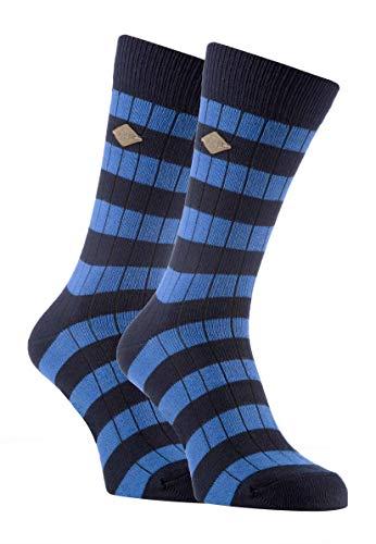 FARAH® - 2er Pack Herren Vintage Qualität Baumwolle Socken mit Gestreift (39/45, 03 Navy/Airforce)