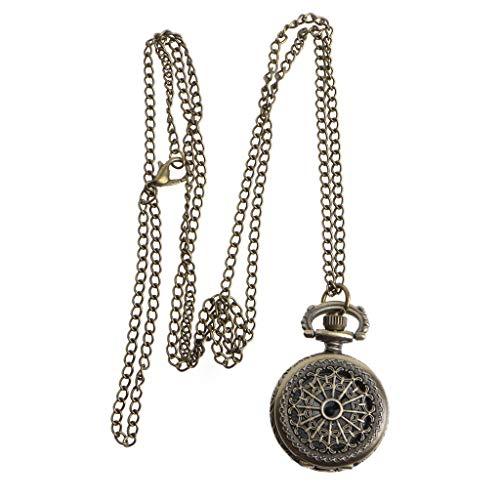 GPWDSN Vintage Bronce Lindo Robot Brújula Bolsillo Colgante Largo Collar Reloj