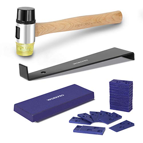 WORKPRO Laminate Wood Flooring Installation Kit with Reinforced Double-Faced Mallet, Heavy Duty Pull Bar, Tapping Block and 30-Piece Spacers Included