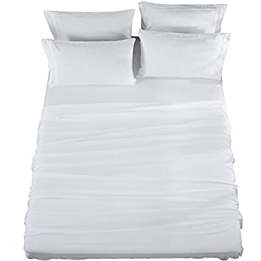 Bed Sheets Set King Size Sheets Microfiber Super Soft 1800 Thread Count Luxury Egyptian Sheets 16-Inch Deep Pocket Wrinkle Fade and Hypoallergenic - 6 Piece (White) - Sonoro Kate