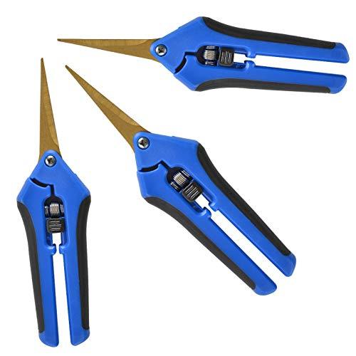 GROWNEER 3 Packs Pruning Shears with Curved Blades Gardening Hand Pruning Snips Titanium...