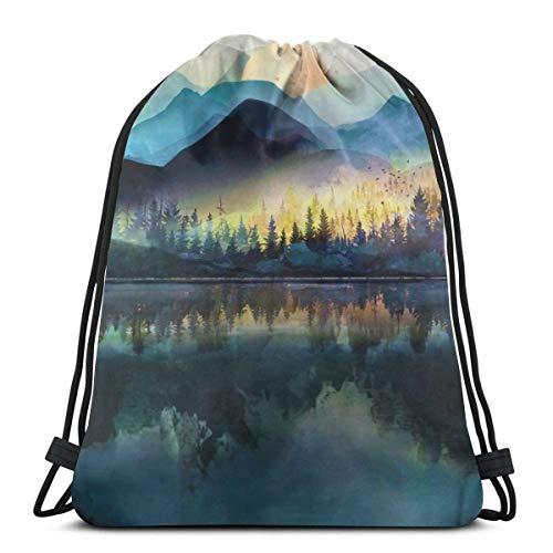 huatongxin Sunrise Scenery Unisex Outdoor Rucksack Shoulder Bag Travel Drawstring Backpack Bag