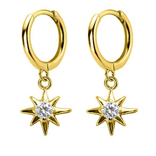 shangwang Pendientes Colgantes de Plata de Ley 925, Pendientes pequeños con Colgante de Estrella de Serpiente con Forma de corazón Cruzado de Ojos Femeninos DS1774Gold