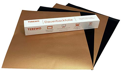 Tebewo Set 4 extra Starke Dauerbackfolien, Wiederverwendbare Dauerback-Matten | Teflon antihaftbeschichte Backunterlage | Backpapier | BPA Frei