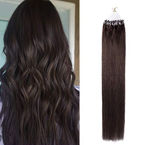 Extension Anneaux Cheveux Naturelle 16 Pouces Extension A Froid Micro Loop Human Hair Extensions Invisible 100 Mèches(0.5G/Mèche) - #2 Brun Foncé