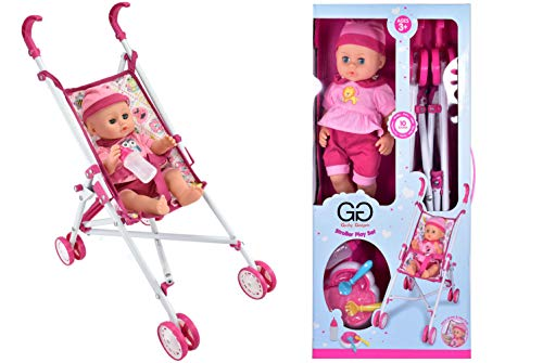 Guilty Gadgets Baby Doll Stroller Pram with Sound and Feed...