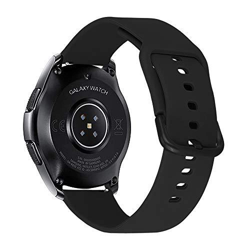 iBazal Cinturino Gear S3 Frontier Classic 22mm Silicone Braccialetto Cinghia Compatibile con Samsung Galaxy 46mm,Huawei Watch GT/2 Classic,Ticwatch PRO Uomo (Orologio Non Incluso) - Nero