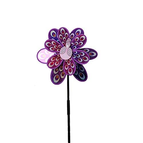 funnyfeng Windräder Windmühle Gartendeko für Doppelschicht, Windspinner Spielzeug, Regenbogenfarben Kinderspielzeug Pfauenlaser Pailletten, 52x35cm