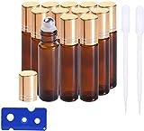 12 Stück 10ml Ätherische Öle Roller Flaschen Braun Bernstein Glasflaschen Edelstahl Roller Bällen für aromaöl und duftöl nachfüllbares (Trichter,...