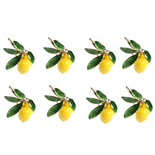 Grevis Lot de 8 ronds de serviette pour mariage de citron avec boucles de serviette dorées pour décoration de table, fêtes de vacances et réunions de famille