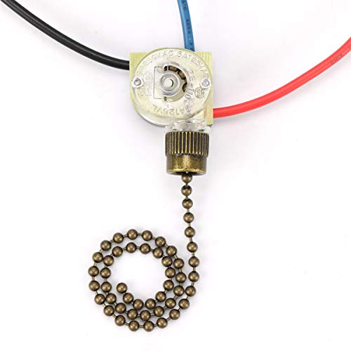 Ceiling Fan Switch ZE-110, Zing Ear Ceiling Fan Light Switch 3 Way 3-Wire Replacement Pull Chain Switch Compatible with Hunter Ceiling Fan (Bronze Pull Chain)