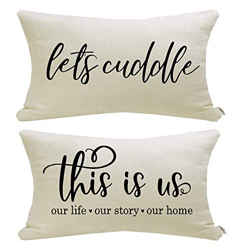 MIULEE Set of 2 Decorative Boho Throw Pillow Covers Cotton Linen Striped Jacquard Pattern Cushion Covers for Sofa Couch Living Room Bedroom 18x18 Inch Ivory White