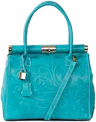 Italian Turquoise Tooled Floral Handbag calf leather By Vittoria Pacini; 3 compartments SMALLER VERSION