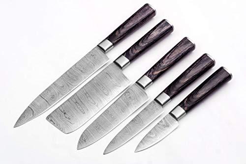SharpWorld Professional 5 Piece Handmade Damascus Steel Chef Knife Set- Best Kitchen Knives 1011(Black Wood)