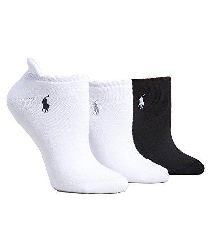 Ralph Lauren Heel Tab Low-Cut Socks 3-Pack, One Size, White/Black