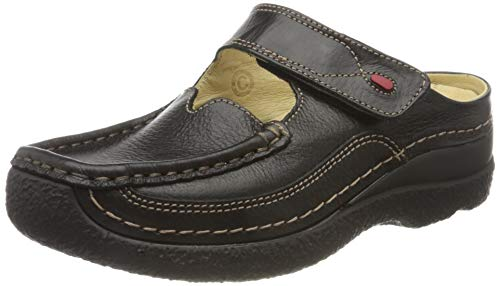 Wolky Comfort Clogs Roll Slipper - 70000 schwarz gedruckt Leder - 38