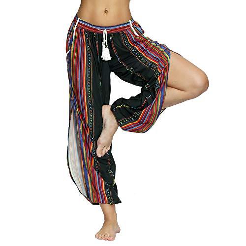 Nuofengkudu Mujer Hippies Pantalones Dividir Pata Estampados Boho Flores Verano Alta Cintura Tailandes Harem Drawstring Yoga Pants Verano Playa(Negro Arco,Large)