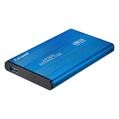 Caraele Tragbare Festplatte, Hochgeschwindigkeits USB 3.0 Externes Mobiles Festplattengehäuse Gehäuse Datensicherungsspeichergerät - Blau 500 GB