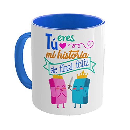 Kembilove Taza Graciosa Pareja - Regalo Original de Taza de café con Frases graciosas - Regalo para Parejas, Enamorados, San Valentín (Tú Eres mi Historia de Final Feliz)
