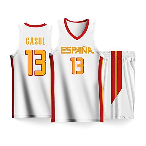 Equipo de España Gasol No.13 Copa de Baloncesto Copa de Baloncesto Conjunto de Disfraces de Baloncesto, Rubio No.9 Chaleco Superior Camiseta sin Mangas Sports de rop White13-XL