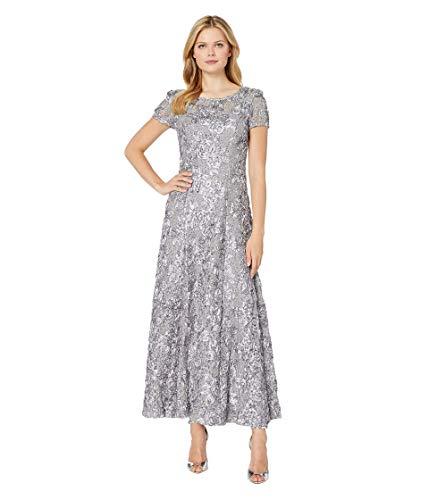 Alex Evenings Women's Long A-Line Rosette Dress, Dove, 6 (Apparel)