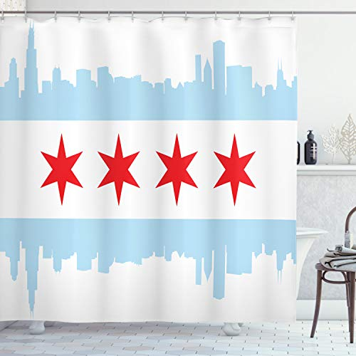 """Ambesonne Chicago Skyline Shower Curtain, City of Chicago Flag with High Rise Buildings Scenery National, Cloth Fabric Bathroom Decor Set with Hooks, 70"""" Long, Red White"""