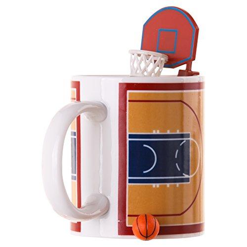 Winkee Tazza da Basket con Palla e Cestino, Ceramica, Marrone, Bianco, 12,00cm