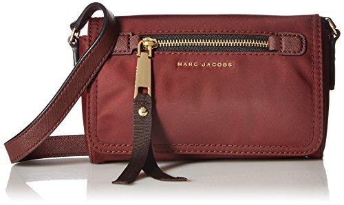 Marc Jacobs pequeño bolso de hombro de nylon burdeos bordeaux Crossbody 20x14x5cm nuevo