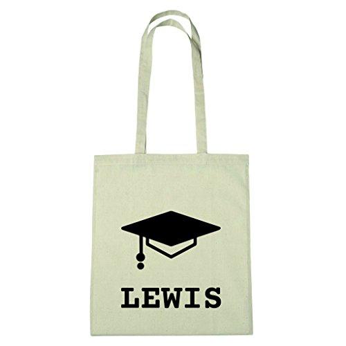 JOllify Baumwolltasche Abschluss Geschenk für LEWIS - Absolventenhut - Studentenhut - Abschlusshut