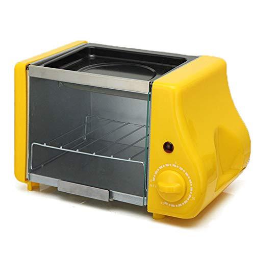 SHUI Mini Horno eléctrico asado Parrilla tostadora Pastel Pan horneado máquina de bistec Huevos fritos tortero freying Pan Temporizador Desayuno Fabricante Yellow