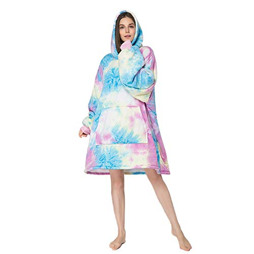 Manta Mujer De Sudadera con Capucha, Tie Dye Homewear Sweatshirt, Capa Super Soft Warm,Rosado,One