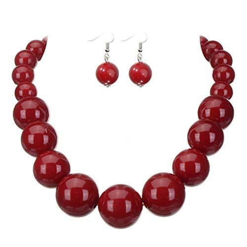 Jerollin Damen Anhänger Halskette Statement Rot Perlenkette aus Harzen Schmuck Set Perlenohrringen Statement Ohrstecker Ohrhänger Weihnachten Geschenk Neujahr