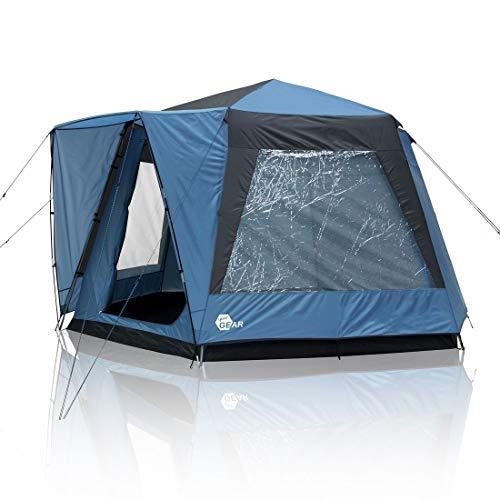 your GEAR Zelt Ponza 400 Festivalzelt Ø 4 x 2,3 m Gruppenzelt Familienzelt Event Dome UV 50+ Schutz Stehhöhe Bodenwanne Wasserdicht 5000 mm Blau Grau