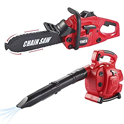 JOYIN 17 inches Long Leaf Blower & 16 inches Long Chainsaw Toy with Realistic Starting Engine and Pulling Rope Effect Sound for Kids Toddler Girls and Boys