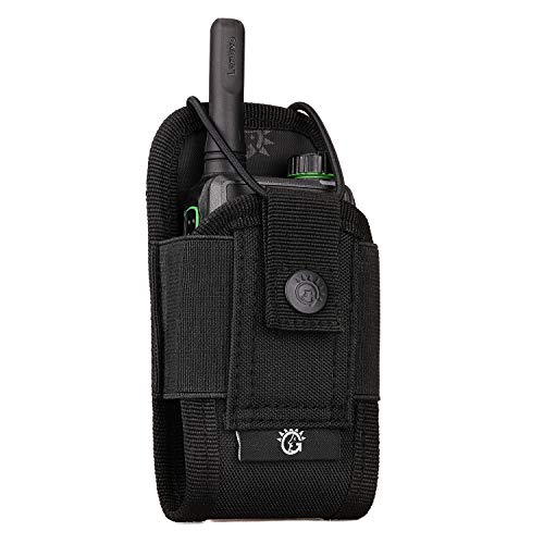 SINAIRSOFT Versatile Radio Holster Pouch,Tactical Molle Radio Holder Case Pouch,Military Interphone Storage Nylon Bag Lightweight for Two Way Radios Walkie Talkies Black