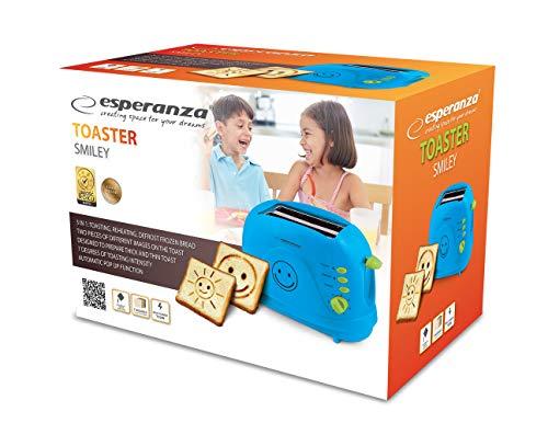 Esperanza Toaster 2 Scheiben mit SMILEY Bild Muster und Timer, Sandwich Krümelschublade, blau
