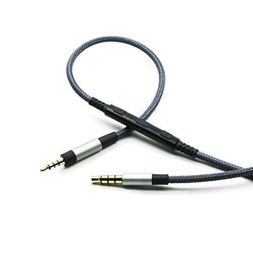 Audio Ersatzkabel mit Mikrofon Fernbedienung für Lautstärkeregler, kompatibel mit Sennheiser PXC550, PXC480 Kopfhörern, Audiokabel, kompatibel mit iPhone, iPod, iPad, Apple Geräten