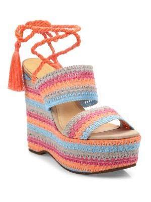 Schutz Bendy Espadrille Rainbow Wrapped Strappy Wedge Platform Sandals (11)