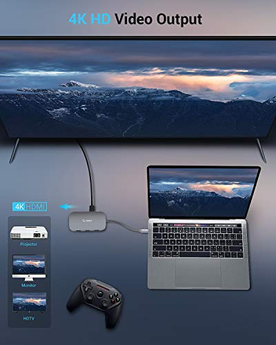 Usb c hub, totu 9-in-1 type c hub with ethernet port, 4k usb c to hdmi, 2 usb 3. 0 ports, 1 usb 2. 0 port, sd/tf card reader, usb-c power delivery, portable for mac pro and other type c laptops (silver) 4 multiport connection: totu usb c hub includes 1 ethernet/rj-45 port, 1 usb type-c female pd charging port, 1 hdmi port, 1 tf sd card slot, 1 sd card slot, 1 usb 2. 0 type a port, 2 usb 3. 0 type a ports. This usb c hub applies to all type-c laptops. Effortless data transfer: connect to your smartphone, tablet, hard drive or other usb peripheral via the usb 3. 0 ports and transfer date between computer and connected device, the usb 2. 0 port is better with mouse, keyboard or other low rate devices. Built in sd and tf slots for easy access to files from universal sd and micro sd memory card; support 2 cards reading simultaneously. 1000mbps ethernet port ensures a more stable and faster wired network connection. Power delivery: support pd charging at max 87w, this multiport usb c adapter provides one type-c pass through female port by which you could securely charge connected macbook or other type-c laptops.