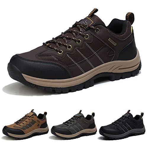 Zapatillas de Senderismo Hombre Transpirable Zapatillas de Trekking Antideslizantes AL Aire Libre Zapatos de Montaña Marron Oscuro 41