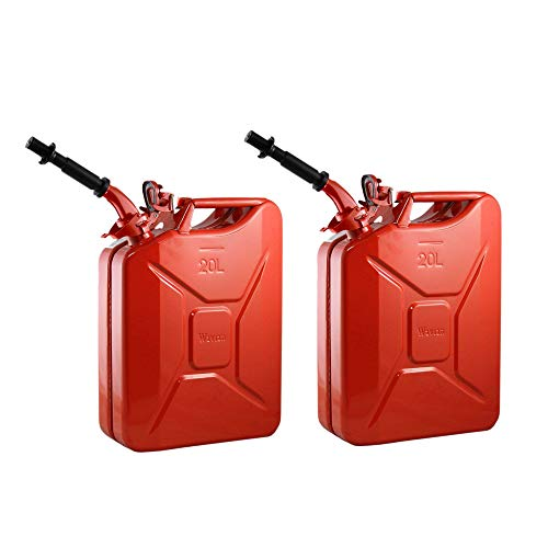 2 Wavian 3009 5.3 Gallon 20 Liter Authentic CARB Fuel Jerry Can with Spout, Red