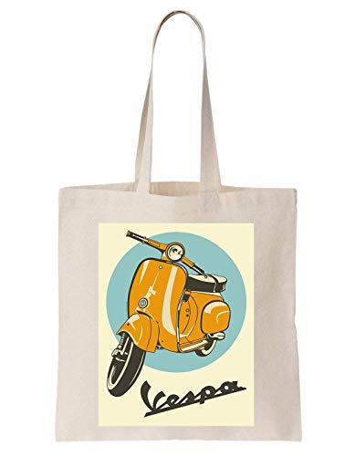 KRISSY Vespa Yellow Scooter Poster Schultertasche Tote Bag