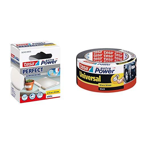 tesa 56343-00035-03 Cinta Adhesiva de Tejido Extra Power Perfect Blanca 2,75m, 2.75m x 38mm + 04612-00001-00 Cinta americana, 25 m x 50 mm, color negro