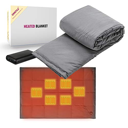 Battery Powered Heated Blanket Portable Fast Heating Electric Blanket for Outdoor Activity Body Warming USB Heated Throw Blanket Office Blanket Travel Outdoor Blanket Include Battery