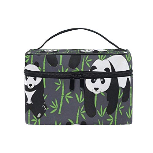 Trousse de maquillage Pandes Bamboo Cosmetic Bag Portable Grand Trousse de toilette pour femmes/filles Travel