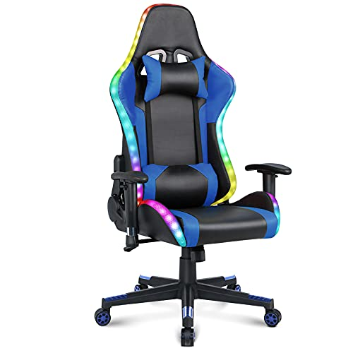 Gaming Chair with Speakers Video Game Chair with RGB Light Ergonomic Racing Office Chair PU Leather Recliner Computer Chair Swivel E-Sports Chair with Headrest Armrest Lumbar Support, Blue