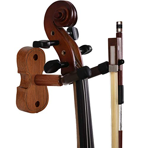 Violin Wall Mount Violin Hanger with Bow Hook Home & Studio Rosewood Violin/Viola Stand (Rosewood MA-R5)