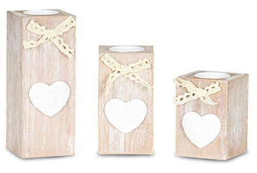 levandeo 3er Set Teelichthalter Halter Kerzenständer Kerzenhalter Shabby Chic Vintage Landhausstil Weiß Braun Gewischt Herz